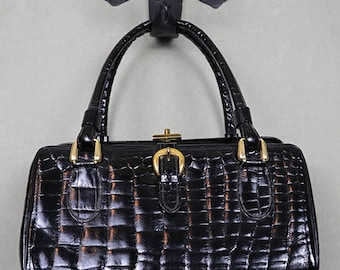 1950s reptile quilted black leather handbag purse with brass hardware, feet, Bonwit Teller