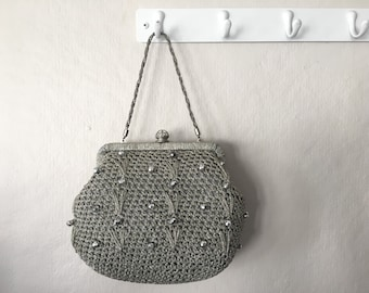 Styled by Simon Gray Silver Woven Purse w/ Chain Strap | Made in Italy