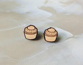 Cupcake earrings - wooden earrings - laser cut earrings - kookinuts - laser cut jewellery - baking cupcakes - jewelry