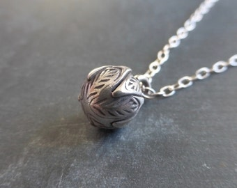 Karen Hill Tribe Fine Silver Small Flower Bud Pendant With 925 Sterling Silver Chain Necklace - Minimalist - Ethnic - Boho - Tribal