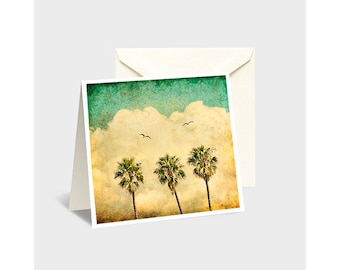 Note Cards, Greeting Cards, Palm Trees, Palm Tree Greeting Cards, Palm Tree Note Cards, Vintage Palm Tree, Vintage California, Seagull Art