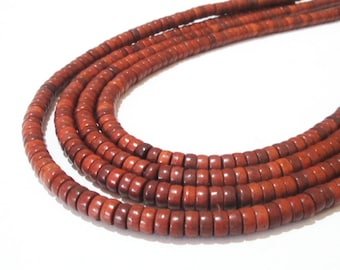 """Brown Beads - Disc Coin Heishi Beads - Small Gemstone Howlite - Disk Round Tube -16"""" Strand - DIY Unisex Necklace Jewelry Making in Bulk"""