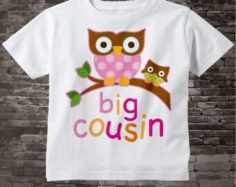 Big Cousin Shirt, Big Cousin Owl Tee Shirt or Big Cousin Onesie Pregnancy Announcement, Owl Big Cousin 04022012a