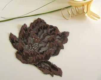 1 applique embroidered tulle Brown 107 mm x 87mm