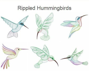 Rippled Hummingbirds Embroidery Designs Instant Download 4x4 5x5 6x6 hoop 14 designs SHE5026