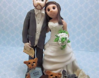 Custom Travel Themed Wedding Cake Topper, wedding cake topper, Bride and groom cake topper, personalized cake topper, Mr and Mrs cake topper