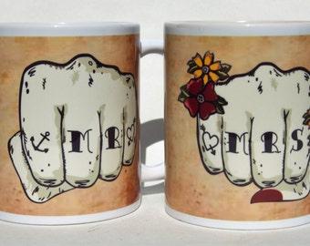 MR & MRS mugs. tattoo fist pair mugs, customised date banner, Tattoo Mug Lady wedding gift, valentines gift. anniversary his and hers gift