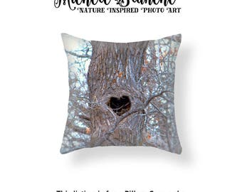 Tree Photo Pillow, Heart in Tree Pillow Case, Nature Throw Pillow, Heart in Nature Decor, Woodsy Nature Throw Pillow Cover