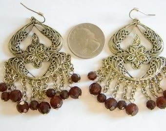 Long Dangle Gold Tone Chain Brown Crystal Beaded Pierced Earrings
