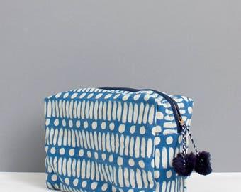 Block Printed Wash Bag || Dot Dash Print || Cosmetic case