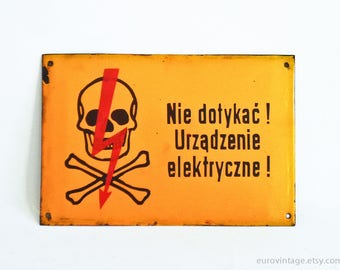 Vintage Industrial Metal Sign / Danger High Voltage Sign Skull / Electrical Devices Warning
