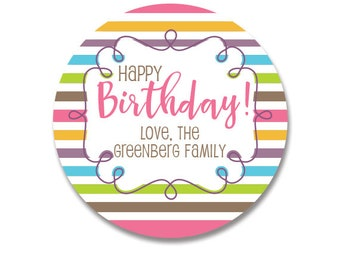 Happy Birthday Stickers, Personalized Happy Birthday stickers, Rainbow stickers, gift tags, girl, boy