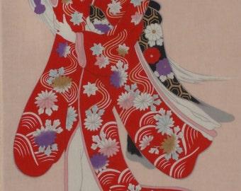 Tenugui 'Kabuki Princess' Cotton Japanese Fabric w/Free Insured Shipping