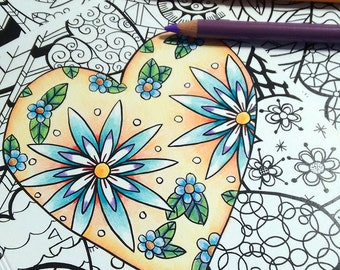 """Colouring Book Greeting Card Hearts Valentine's Day 5""""x7"""""""