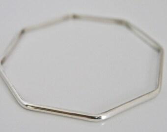 Handmade Octagon Shape Silver Bangle 3mm wide D shape - Contemporary Jewellery