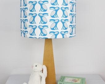 Swedish Blue Bunny Pattern Drum lampshade Light Shade