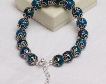 Blue Green Azurite Adjustable Bracelet