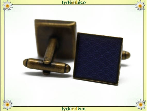 2 retro suit cuff links resin: seigaiha waves Japanese blue white brass 16mm