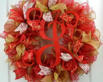 Monogram Christmas Wreath - Monogram Christmas Door Wreath - Christmas Front Door Wreath - Christmas Monogram Wreath - Gold Christmas Decor