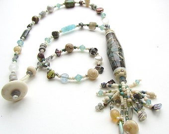 Beachcomber Necklace with Lampwork Glass Focal