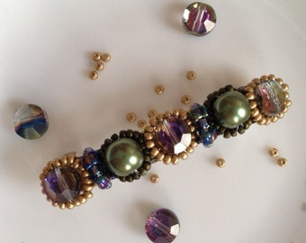 Gold, purple crystal, forest green pearl hair barette, wedding accessories, wedding hair clip, wedding hair barettes, bridesmaids gift