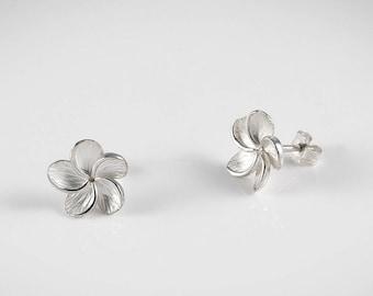 Tiare Flower Earrings - Silver