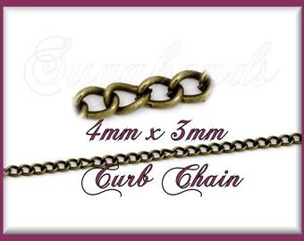 32ft Antiqued Brass Curb Chain - Bulk Brass Curb Chain CB5
