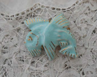1930's fish brooch pottery