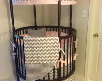 DEPOSIT Round Crib Bedding Baby Pink and Gray Made to Order