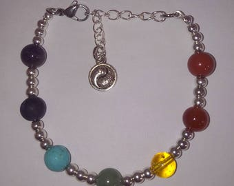 Chakra Stones bracelet with Yin and Yang