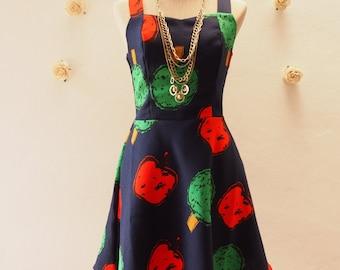 USD20 SALE - Dress Tropical Navy Summer Casual Dress Vintage Inspired Dress Straps Sleeveless Cute Sundress Shorts Dress  -Size M