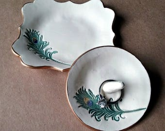 Ceramic Trinket bowl and Ring Holder set Jewelry Holder Dish  edged in gold Feather