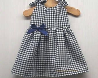 Blue and white checkered baby girl dresses