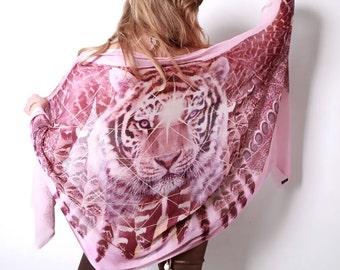 Tiger Scarf - Bohemian Clothing - Festival Clothing - Tigers Eye - Tiger Print - Wing Scarf - Sarong - Shawl - Holiday Clothes