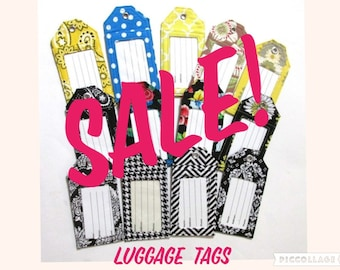 SALE - Handmade luggage tags - Flowers and stripes - Black and white - Ready to ship - gift ideas - his hers birthday gift - wedding gift