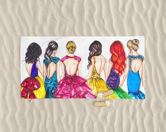 Princess Beach Towel (Fashion illustration- Melsy's Illustrations- Beach Towel - Princesses - Beach - Summer)