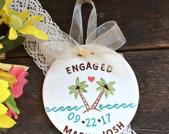 Personalized Engagement Ornament - Tropical Paradise Ceramic Ornament, Wedding Ornament, Engagement Gift Idea , Gift for Couple