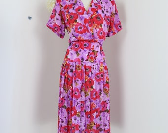 1980s Does 40s Vintage Floral Dress - Midi - Pleated Drop Waist - Medium - Short Sleeve - Double Breasted Shirt Dress