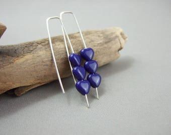 Navy Blue Heart Earrings - Valentine's Day Gift - Tiny Love Heart Earrings - Gift For Her - Handmade Jewellery