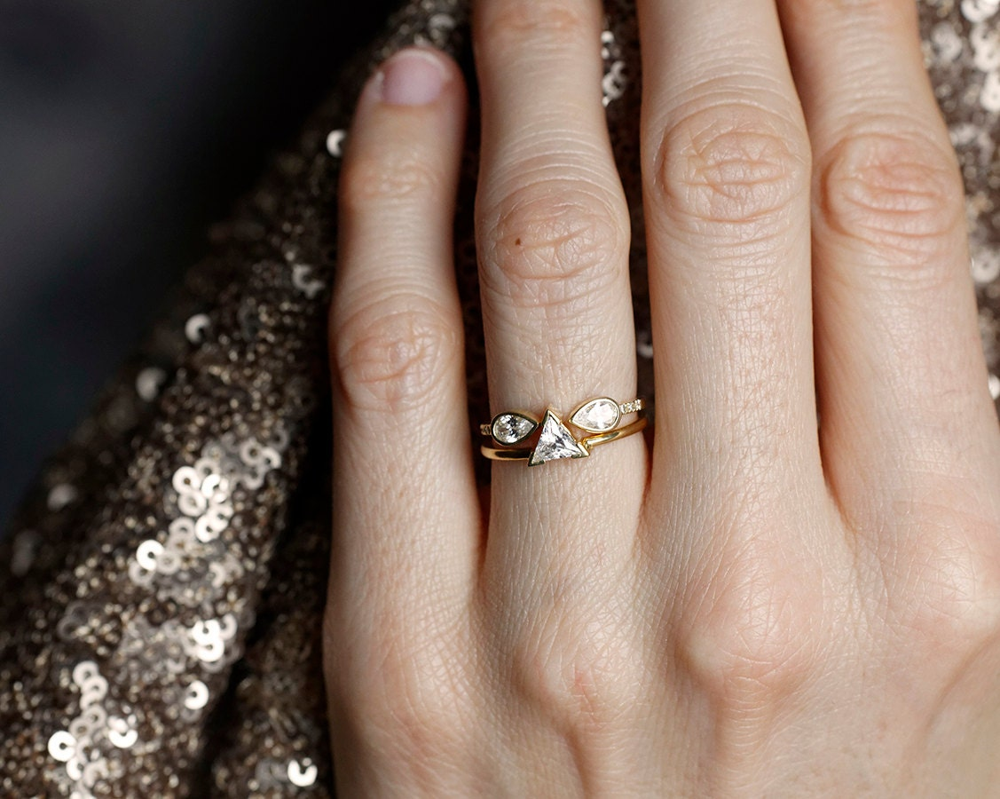 Open Diamond Ring Horseshoe ring Pear Diamond Ring Double