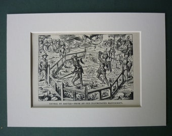 """1880 Print Of Medieval Battle - 8"""" x 6"""" - Knights - Sword Fight - Duel - Engraving - Middle Ages - History - Matted"""