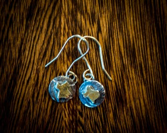 Gold and sterling silver tiny Texas earrings