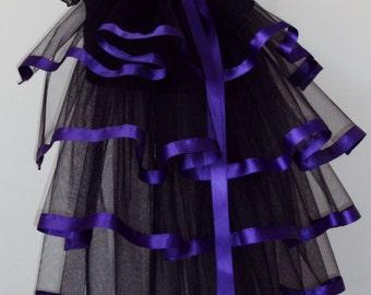 Black Purple  Burlesque Steampunk Bustle Belt size XS S M L XL
