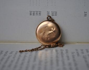 Antique Rose Gold Filled Locket - 1900s Edwardian Locket Necklace