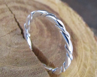 Argentium Silver Square Twisted Stacking Ring