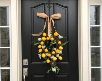 SPRING WREATHS, Lemons Wreath, Yellow Lemons Wreath, Bird's Nest Wreath, Spring Door Wreaths, Unique Door Wreaths, Front Porch Wreaths