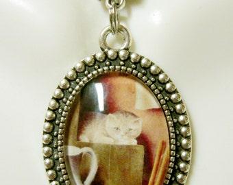 Cat still life pendant and chain - CAP05-034