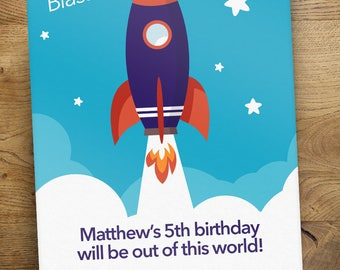 Rocket Space Birthday Party Invitation - Print Yourself