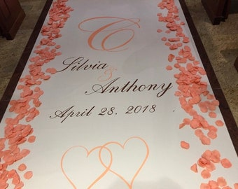 Custom fabric aisle runner for your wedding, birthday or anniversary party. Custom monogram, logo, ornate frames and borders all handpainted
