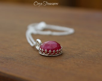 Genuine Rose Cut Ruby Gallery Bezel Necklace | High Dome Ruby | 925 Sterling Silver Double Rope Chain |Precious Gemstone | July Birthstone